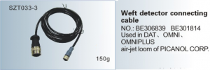 Weft detector connecting cable NO. BE306839 BE301814 Used in DAT, OMNI , OMNIPLUS air-jet loom of PICANOL SZT033-3